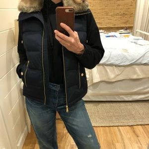 Michael Kors navy down vest with faux fur collar